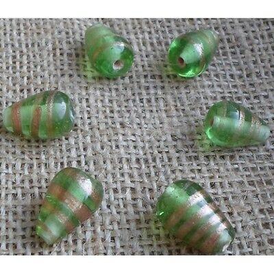 10 HANDMADE INDIAN LAMPWORK GLASS BEADS ~ 13mm Light Green Drops ~ 15 - 15 Handmade Lampwork
