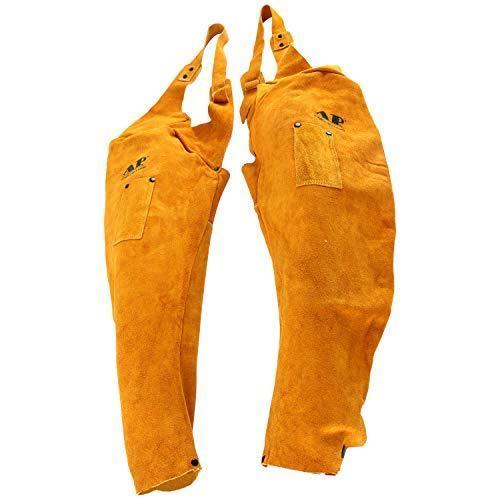 "23"" Split Cowhide Leather Welders  Sleeves W/Studs Front around Neck, Golden"