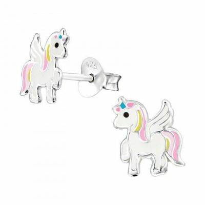 Girls Ladies Sterling Silver Pink Unicorn Stud Earrings Yellow White - Boxed