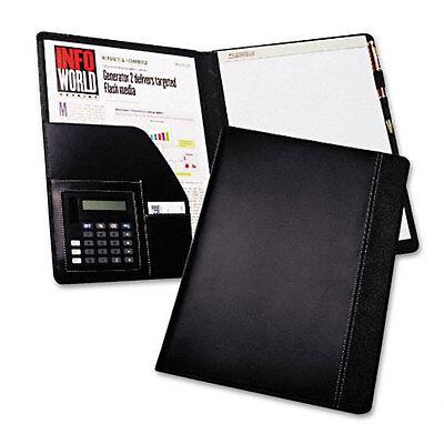 Samsill Slimline Pad Holder Calculator Faux Leather Look Writing Pad Black 71220
