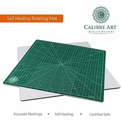 "New Calibre Art 18"" Self Healing Rotating Cutting Mat Quilting Sewing (17"" grid)"