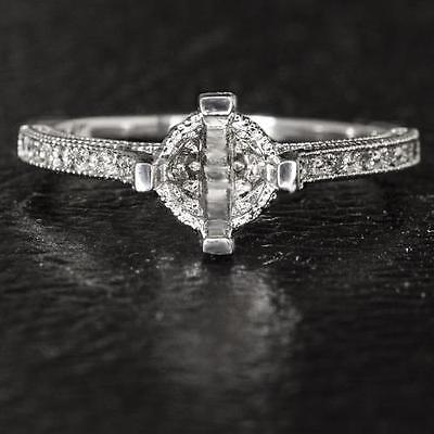 VINTAGE FILIGREE ENGRAVED SEMI MOUNT 6MM 6.5MM ROUND SETTING 1CT DIAMOND RING 14