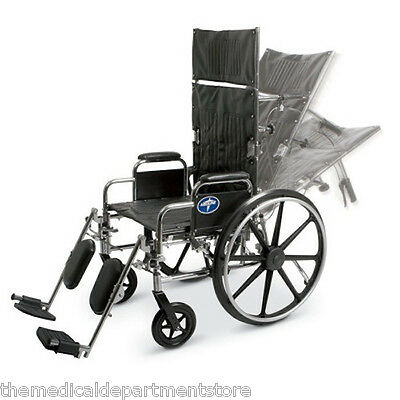"Medline Excel Reclining Wheelchair. Recliner. 18"" Seat. 22""H Back with Head Rest"