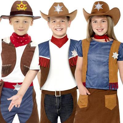 Western Kids Fancy Dress Childrens Boys Girls Cowboy World Book Day Costumes (Cowboy Costumes For Girls)