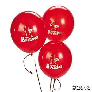 1st Birthday Red Latex Balloon 11