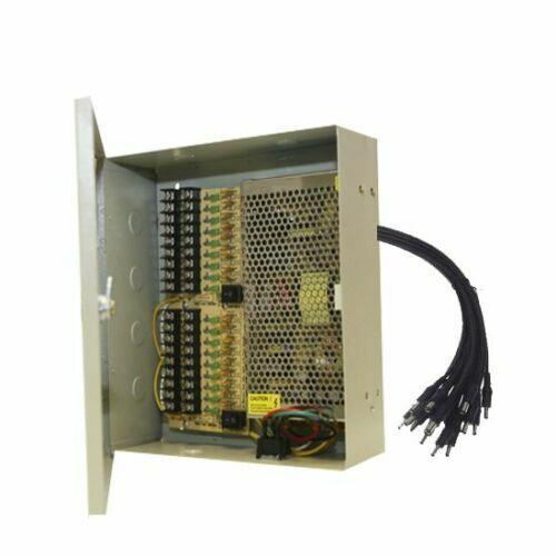 16CH Power Supply Box CCTV Security Cameras 18 Port 12V DC Auto Reset +Pigtails