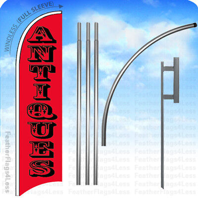 Antiques - Windless Swooper Feather Flag 15 Kit Banner Sign Tall Rb