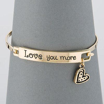 Simple Gold Love You More Message Heart Charm Bangle Bracelet
