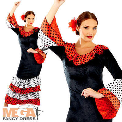 Flamenco Dancer Laides Fancy Dress Spanish National Dress Womens Adults (National Fancy Dress Kostüm)