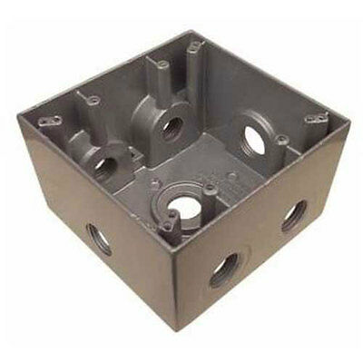 Do It -gray Two-gang Box Outdoor Light 502421 Weatherproof Wet Location 7 Outlet
