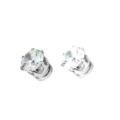 Classic magnetic magnet diamond stud style white crystal stud earrings