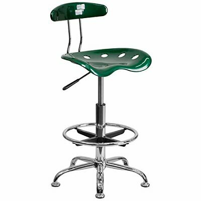 Vibrant Green And Chrome Drafting Stool With Tractor Seat - Lf-215-green-gg