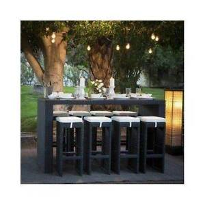 NEW PE Rattan Wicker Chairs Bar Table 9 Pieces weather proof YFF Auburn Auburn Area Preview