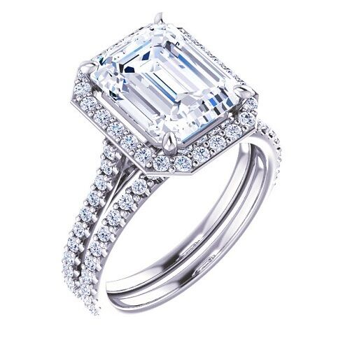 Pave Halo 3.30 Ct. Emerald Cut Diamond Engagement Ring & Wedding Band H/VS1 GIA