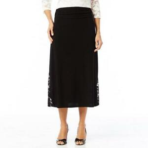 Long Black Skirt With Lace Inserts Reduced