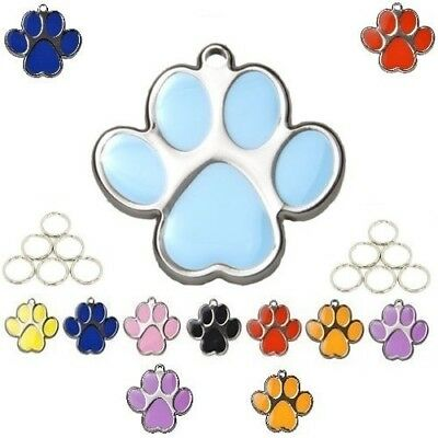 Katze Custome (Paw Shape 23mm Personalised Custom Engraved Tags Dog Cat Pet ID Discs Disks Name)