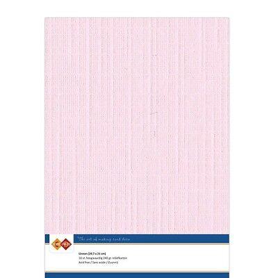 (EUR 4,81/m²) Leinenkarton 10xA4-Bogen hellrosa 15