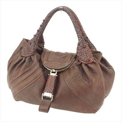 Fendi Bag Handbag Brown Silver leather Woman T8077