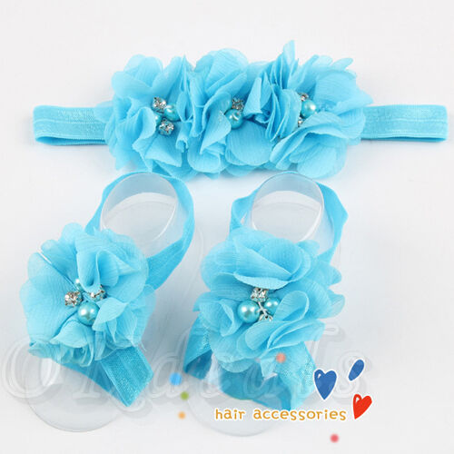 Colorful Foot Flower Barefoot Sandals + Headband Set for Baby Infants Girls top 1