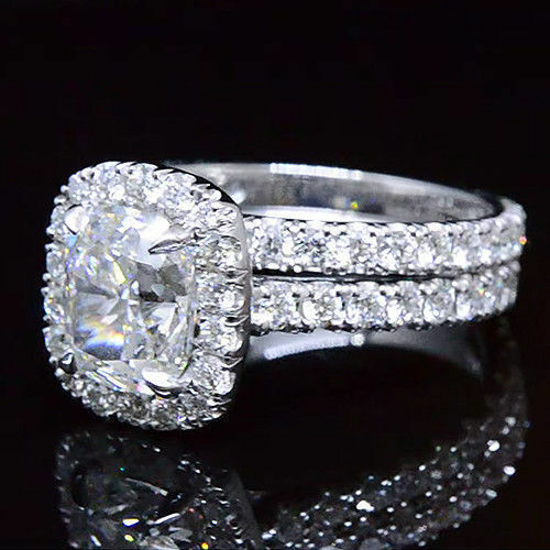 2.70 Ct Cushion Cut Diamond Halo Round Cut Engagement Ring H,IF GIA Gold or Plat 6