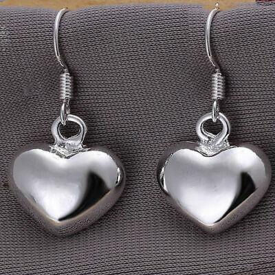 sterling Silver earrings  Love Heart Drop Dangle Hook Pierced  Earrings