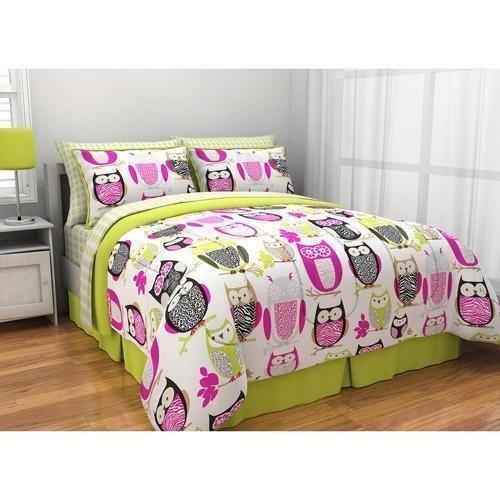 girls owl bedding ebay. Black Bedroom Furniture Sets. Home Design Ideas
