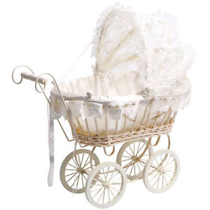 Brand-NEW-Kids-Classic-Antique-Wicker-White-Lace-Dolls-Pram-Pushchair