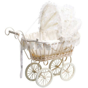 Brand NEW Kids Classic Antique Wicker White Lace Dolls Pram Pushchair
