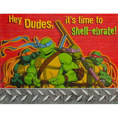 TEENAGE MUTANT NINJA TURTLES INVITATIONS (8) ~ BIrthday Party Supplies Vintage - Ninja Turtle Party Invitations