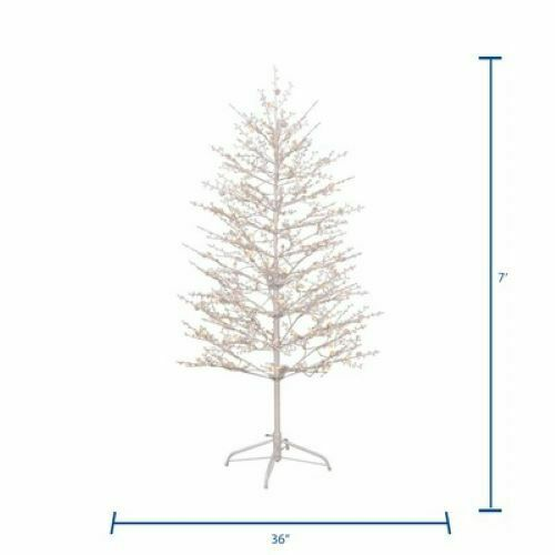 GE 7-ft Pre-Lit Winterberry Slim Artificial Christmas Tree 400 White LED  Lights