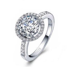 Femmes Silver 4 Carats DE Diamant Bague DE Mariage Nouveau Gros Bijoux ...