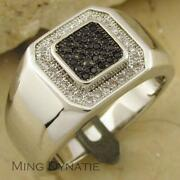 Mens Silver Onyx Ring