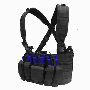 CONDOR-MOLLE-Tactical-Nylon-Recon-Chest-Rig-Mag-holder-Vest-mcr5-BLACK
