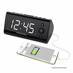 Magnasonic Alarm Clock Radio with USB Charging for Smartphones & Tablets Incl...