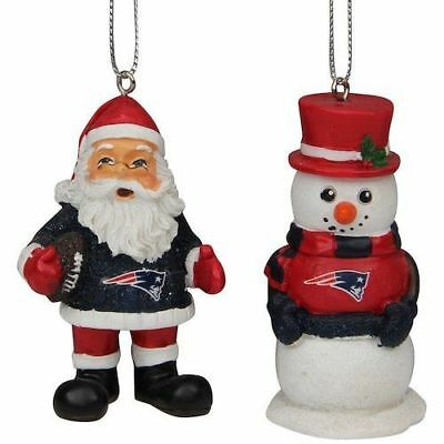 New England Patriots Christmas Tree Holiday Ornament - St Nick Snowman 2-pack ()