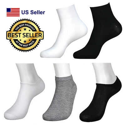 Plain Low-cut ( 6 12 Pairs Anklet Spandex LOW CUT SOCKS Lot Men Womens PLAIN Black White Gray)