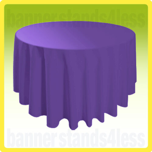 """120"""" PURPLE Round Tablecloth Table Cover Wedding Banquet Event Cloth"""
