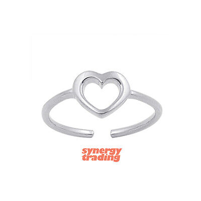 .925 Sterling Silver Dainty Heart Summer Adjustable Toe Ring NEW