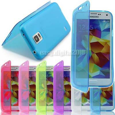 WALLET FLIP TPU SILICONE GEL CASE COVER FOR SAMSUNG GALAXY S5 i9600 & SCREEN PRO