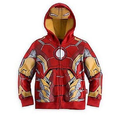 Super Heros Hoodie Iron Man jacket zipped boys kids avengers Captain America  ()