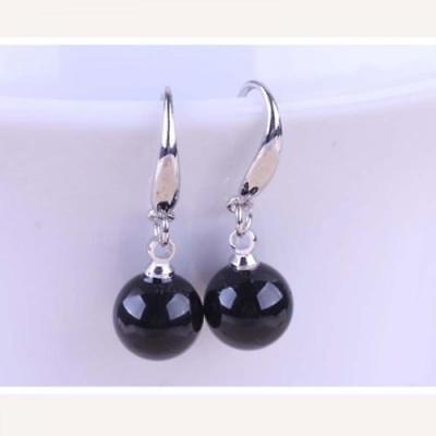 New Silver Plated 10mm Black Onyx Agate Round Bead Ball Hook Dangle Earrings  Black Plated Ball