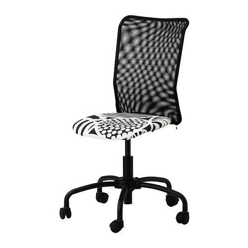 Ikea Torbjorn Home Office Swivel Chair With Black And White Patterned Seat Mesh Back