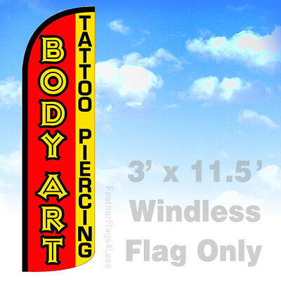 Body Art Tattoo Piercing - 3 Windless Swooper Feather Flag Banner Sign Rq
