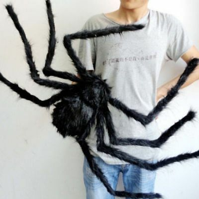 Spider Halloween Decoration Haunted House Prop Indoor Outdoor Black Giant 300 mm](Giant Outdoor Spider Decoration)