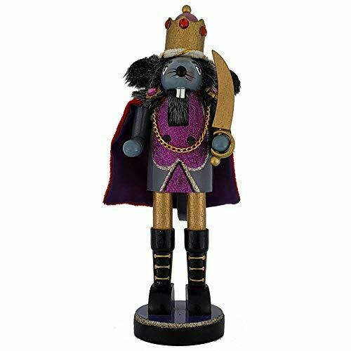 Christmas Nutcracker Mouse King Purple Sparkle with Colored Rhinestones 10 Inch