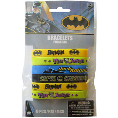 BATMAN RUBBER BRACELETS (6) ~ Birthday Party Supplies Wristbands Favors - Jokers Party Supplies
