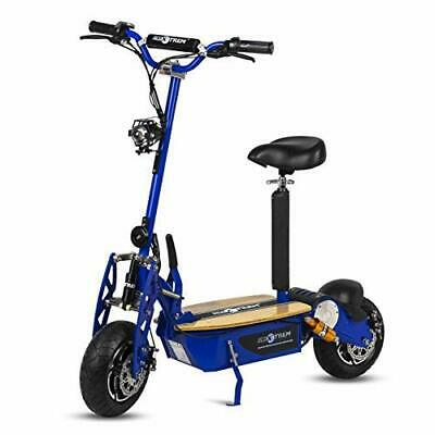 Moto scooter electrico 1600w 55 km/h patinete sillin plataforma madera azul