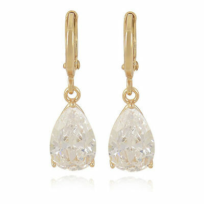 Pretty 9K Yellow Gold Filled Pear Shape Teardrop Clear White Cz Dangle Earrings