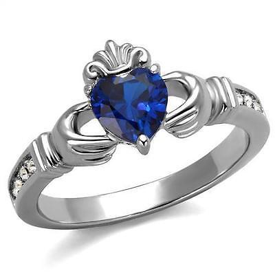Stainless Steel Blue Sapphire CZ Heart Irish Celtic King Claddagh Irish Ring Blue Sapphire Celtic Ring
