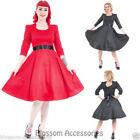 Polka Dot 3/4 Sleeve Retro Dresses for Women